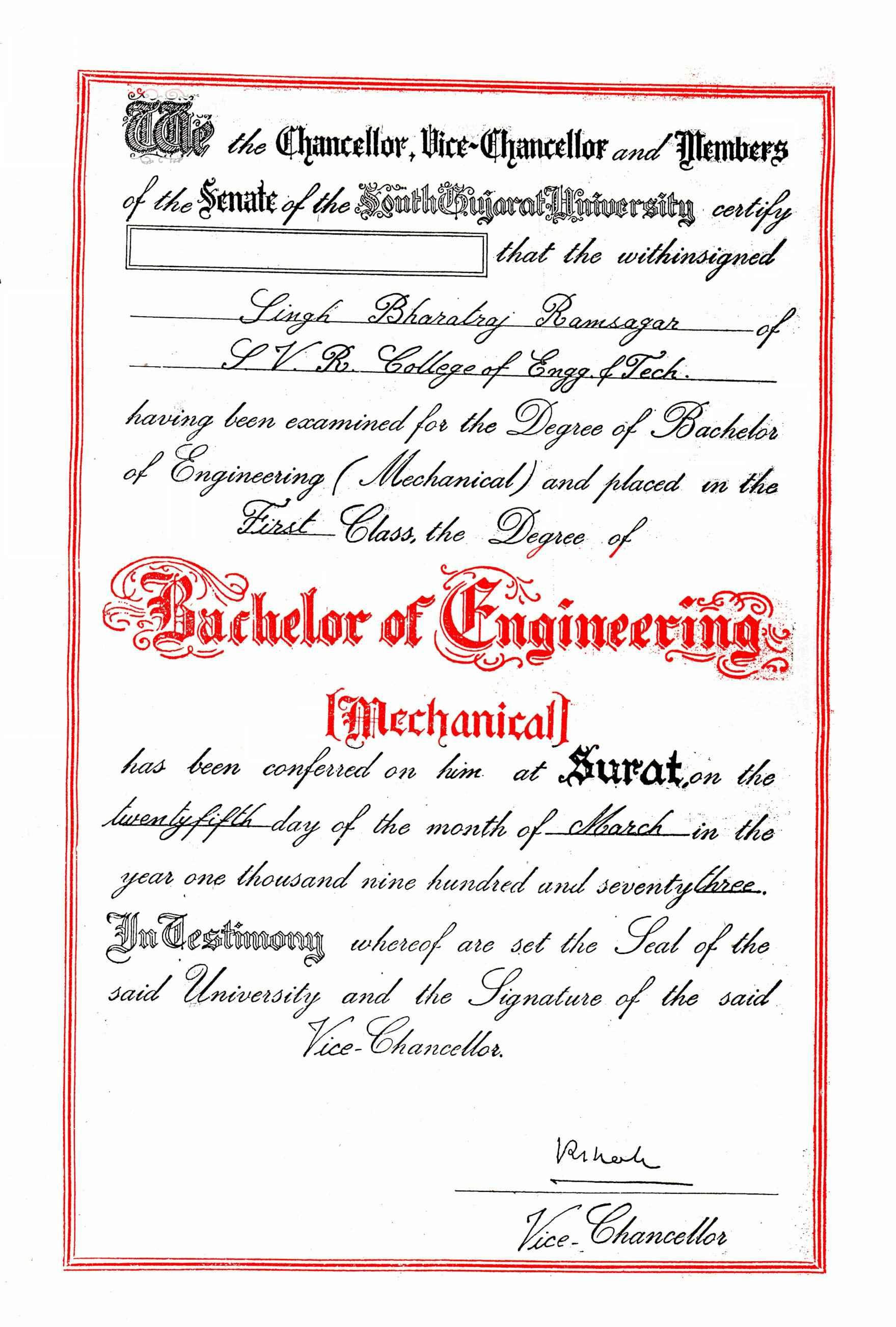gujarat university degree certificate sample gallery